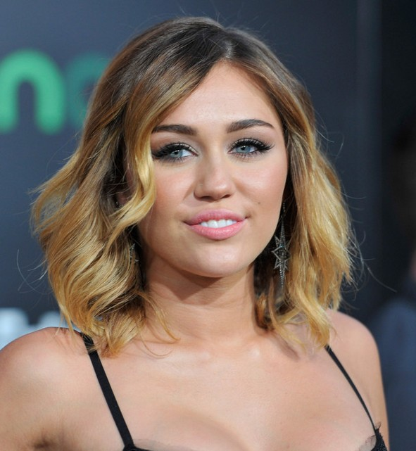 Ombre Bob Hairstyle: Miley Cyrus Medium Ombre Wavy Hairstyle