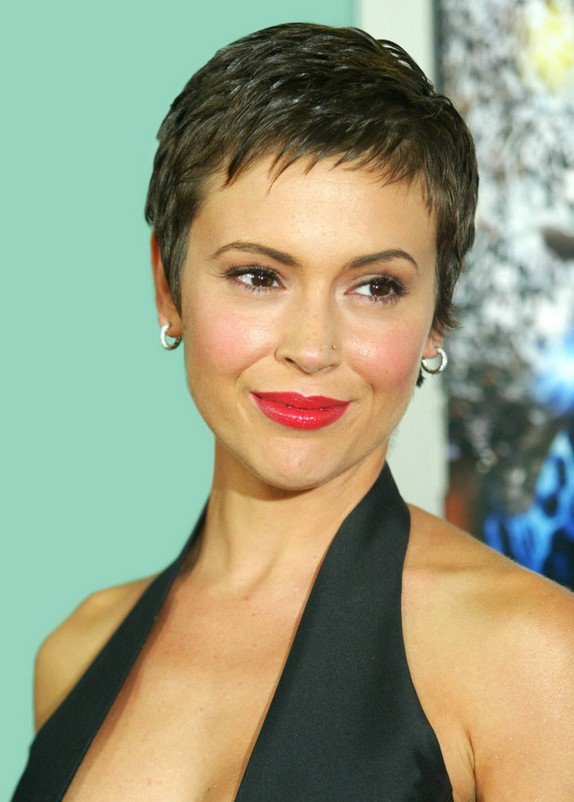 Pretty Pixie Cut With Edgy Piecey Fringe Alyssa Milano Short