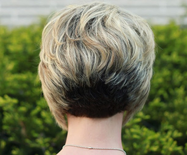 Back View of Stacked Bob Hairstyle - Layered Srt Hairstyle for ...