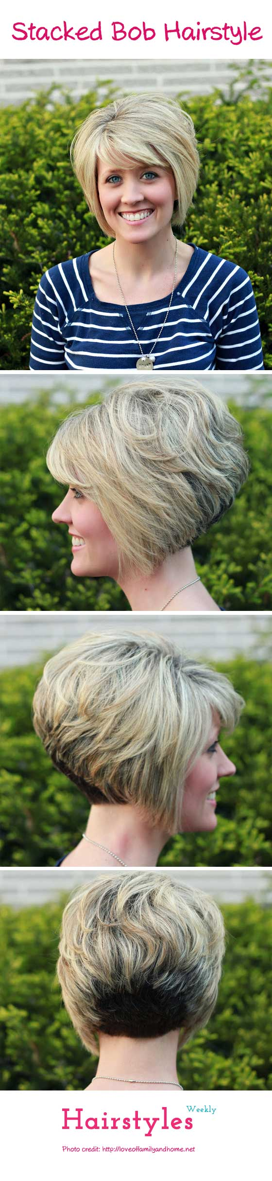 Gorgeous stacked bob hairstyle with side swept bangs for thick hair