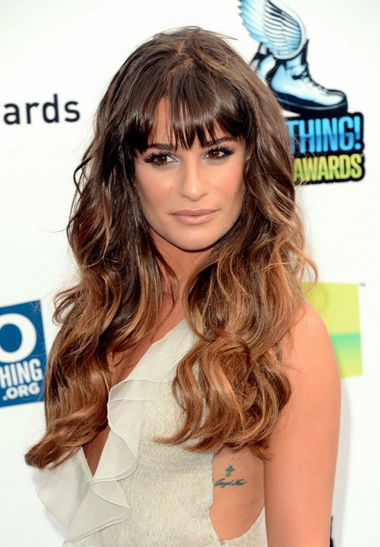 Phenomenal Celebrity Long Ombre Hairstyle Wavy Hair With Bangs Lea Short Hairstyles For Black Women Fulllsitofus