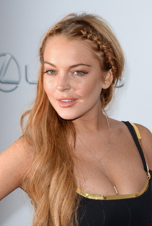 Braided long hair style for women - Lindsay Lohan Hairstyle