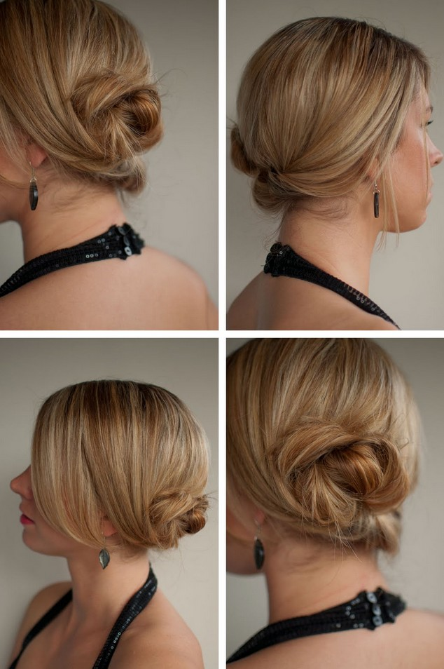 Updo for Wedding, prom: Messy Low Twisted Chignon Updo