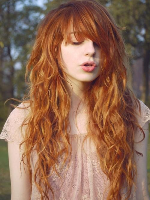 Eye Catching Tousled Orange Waves Long Wavy Hairstyle