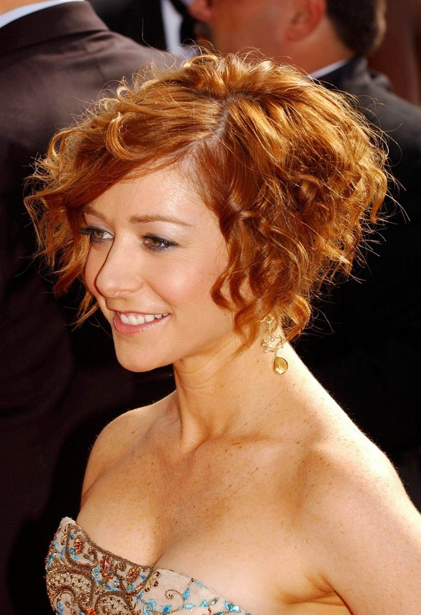 Incredible Short Curly Bob Hairstyle Copper Colored Short Cut From Alyson Short Hairstyles For Black Women Fulllsitofus