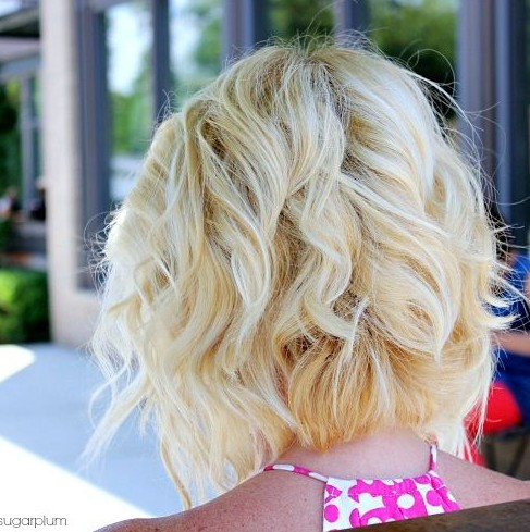 Back View of Angled Piecey Bob haircut