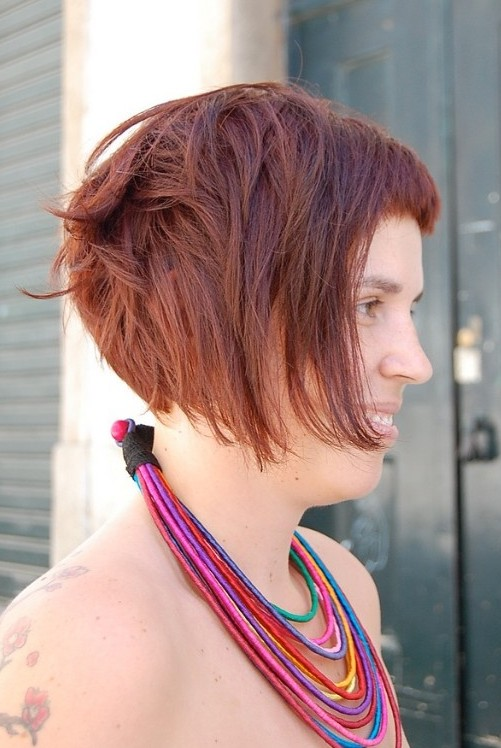 Short Red Bob Hairstyle for Summer