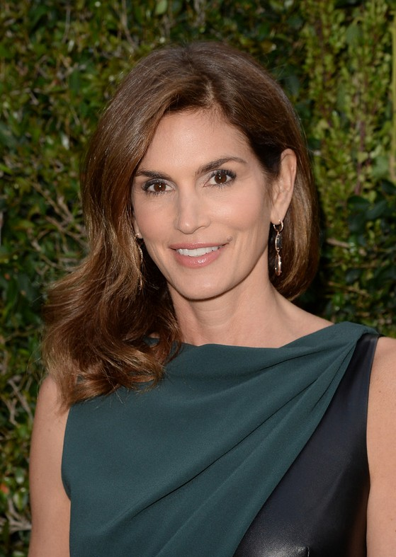 Long Dark Brown Hairstyle For Women Cindy Crawford S