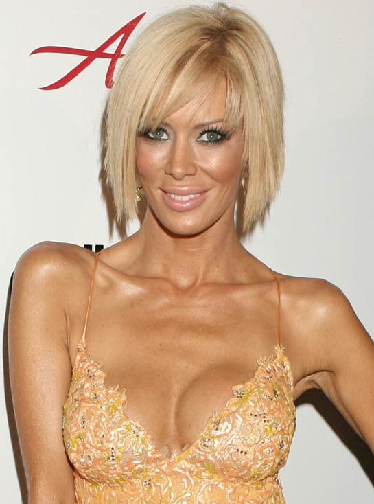 Stupendous Inverted Platinum Blonde Bob Haircut With Bangs Jenna Jameson39S Short Hairstyles Gunalazisus