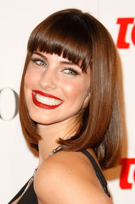 Lob Sexy Long Bob Hairstyle With Blunt Bangs From