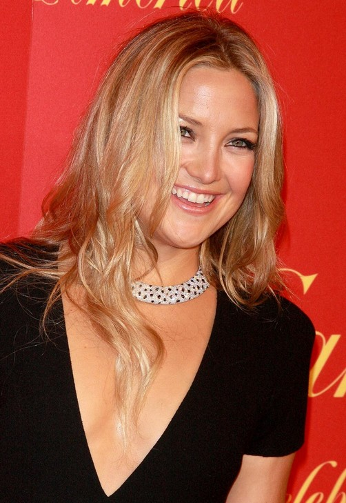Center Part Long Hairstyle with Waves - Kate Hudson's Hairstyle