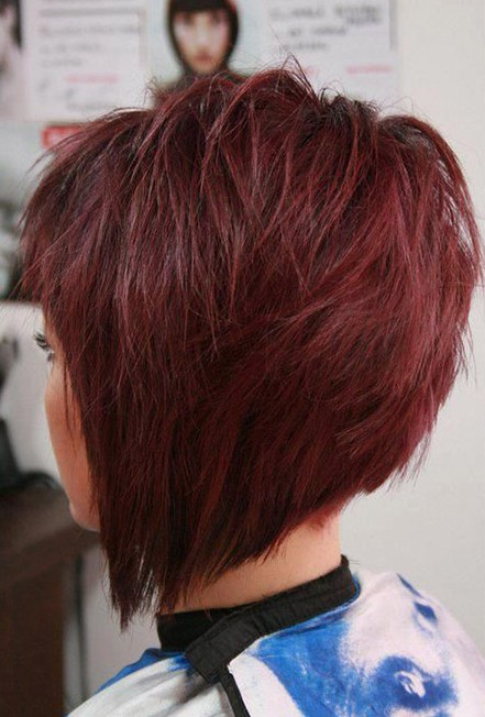 Side View of Layered Red Graduated Bob