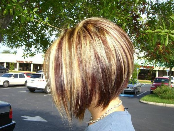 Red Blonde and Brown Highlights with an Inverted Bob