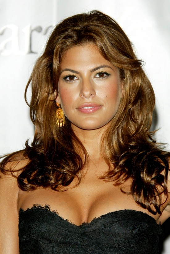 Long Brown Wavy Hairstyle For Thick Hair Eva Mendes