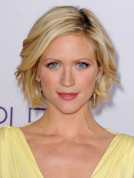 Brittany Snow Hairstyle - Short Blonde windblown Bob Hairstyle for 2014