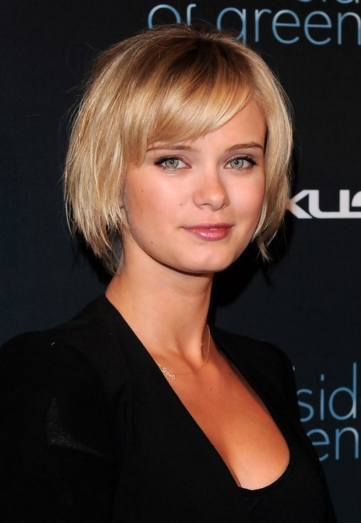 Cute Short Blonde Ombre Bob Haircut with Bangs - Hairstyles 2014 - Sara Paxton Haircut