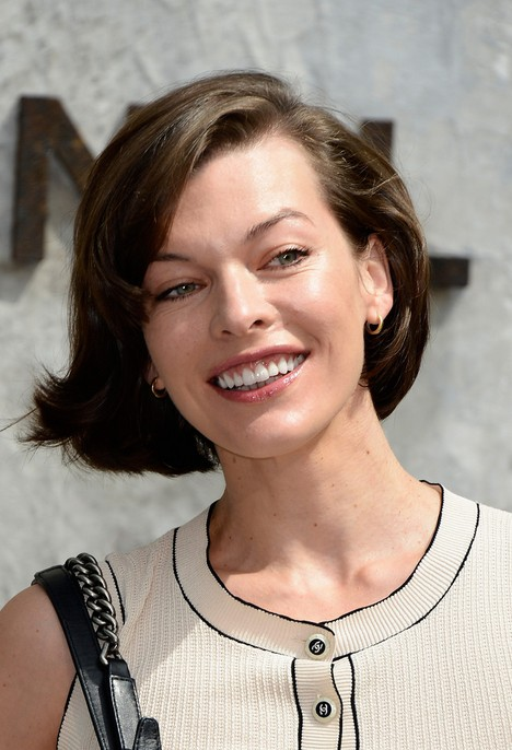 Milla Jovovich Short Haircut - Deep Side Parted Short Hairstyle