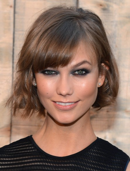 Karlie Kloss Short Hairstyle 2015 - Casual Short Haircut with Cool Bangs