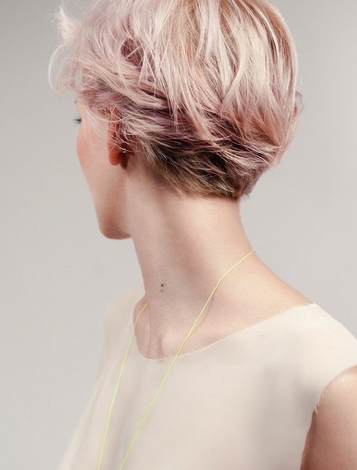 Pink Short Hairstyle  - Back View of Layered Short Haircut