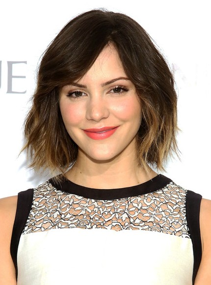 Katharine McPhee Short Ombre Hairstyles 2014 - Layered Bob Cut with Bangs