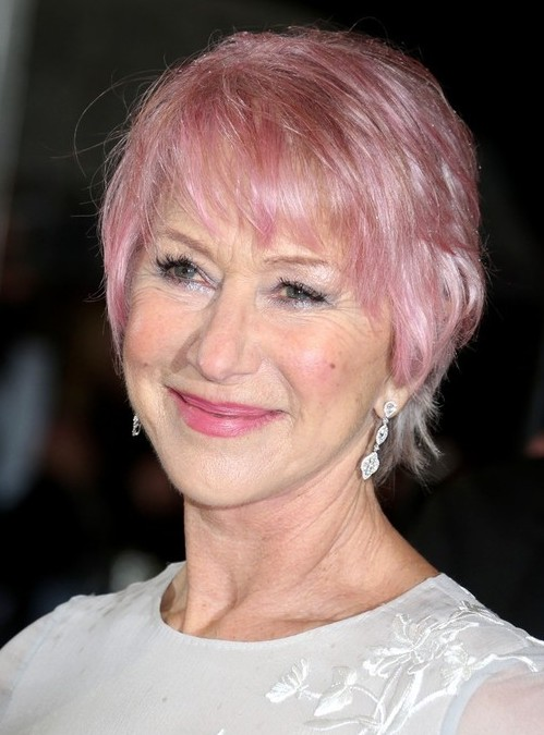 Helen Mirren Pink Short Hair - Short Hairstyle for Women Over 60s