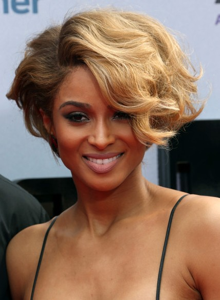 Ciara Short Hairstyles -  Elegant Wavy Curly Hair Styles for Black Women