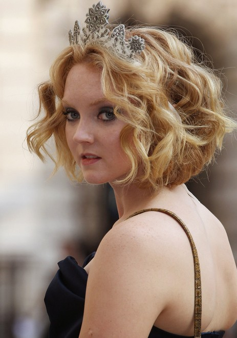 Lily Cole Short Blonde Curly Bob - Short Hairstyle for Curly Hair