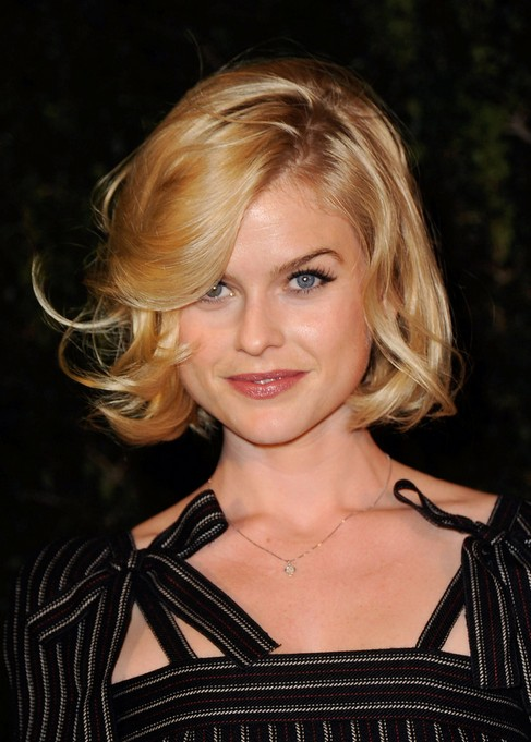 Alice Eve Blonde Bob Hairstyle 2015 - Blonde Bob Cut with Bangs