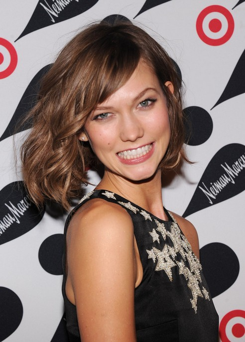 Karlie Kloss Short Wavy Bob Hairstyle with Bangs