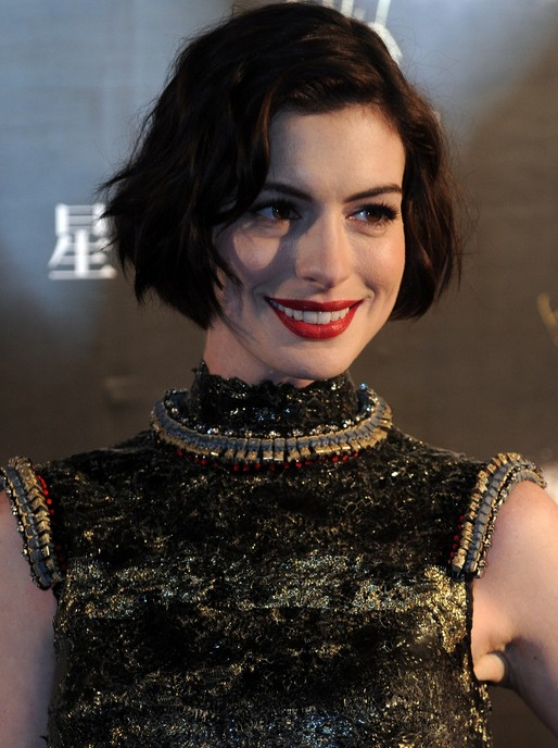 Anne Hathaway Short Soft Wavy Curly Bob Hairstyle