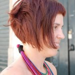 Edgy Short Cut - Bob Hairstyle for Summer - Side View of Red Bob Cut