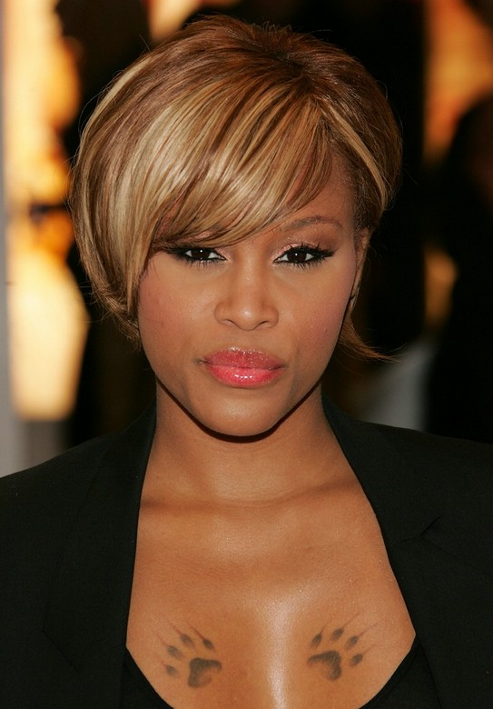 Trendy African American Short Straight Haircut Celebrity Eves