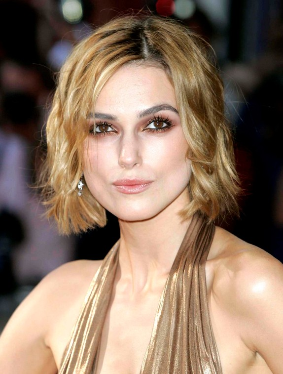 Celebrity Short Curly Bob Hairstyle Keira Knightley