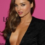 Miranda Kerr Deep Side Parting Long Wavy Hairstyle
