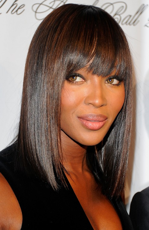 Pleasant Sleek Demi Bob With Straight Bangs Naomi Campbell Hair Style Short Hairstyles For Black Women Fulllsitofus
