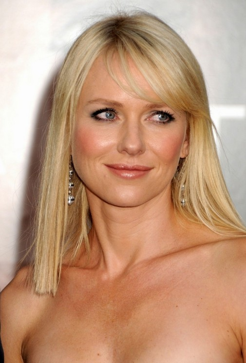 Long Straight Hairstyle with Bangs for Thin Hair – Naomi Watts Hairstyles
