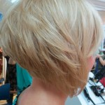 Side View of Graduated Bob - Cute Layered Platinum Blonde Short Haircut