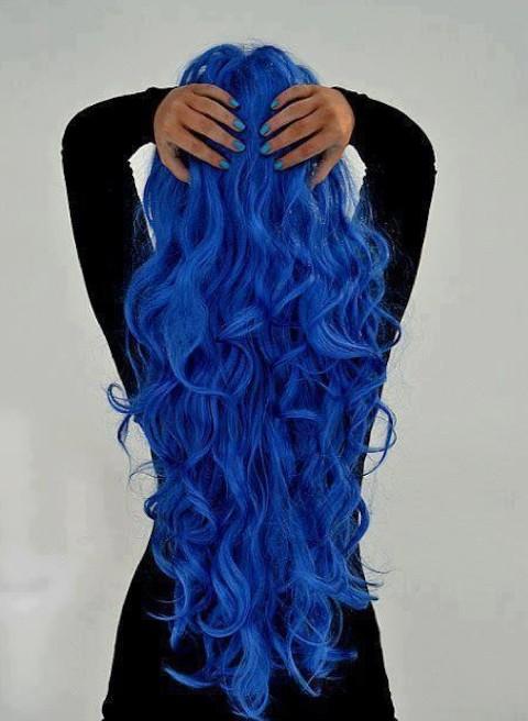 Blue hair for long hair