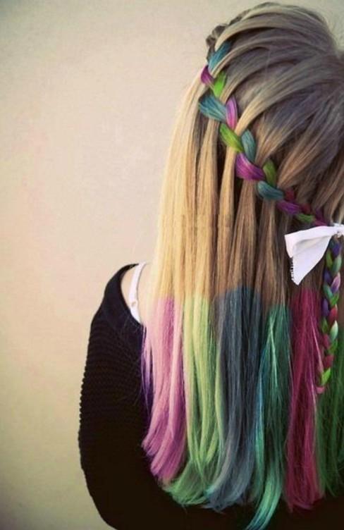 Hair Chalk Trend Rainbow Braid Hippy Look /tumblr