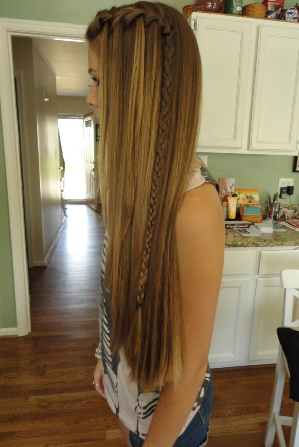 Long Hipster Hair   Highlighted Straight Style with ...