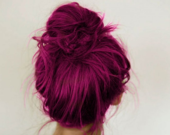 Cool Hair: Stunning Messy Magenta Topknot - Hairstyles Weekly