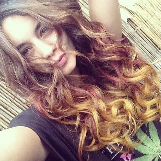 vanessa hudgens stlye long autumn ombre curly hairstyle