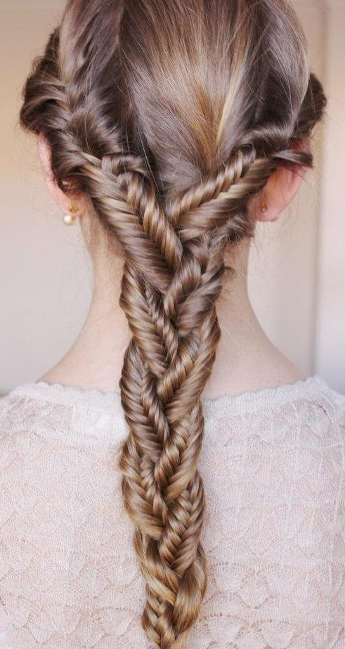 Summer hair ideas triple fish tail braided elegance for Fish tail hair
