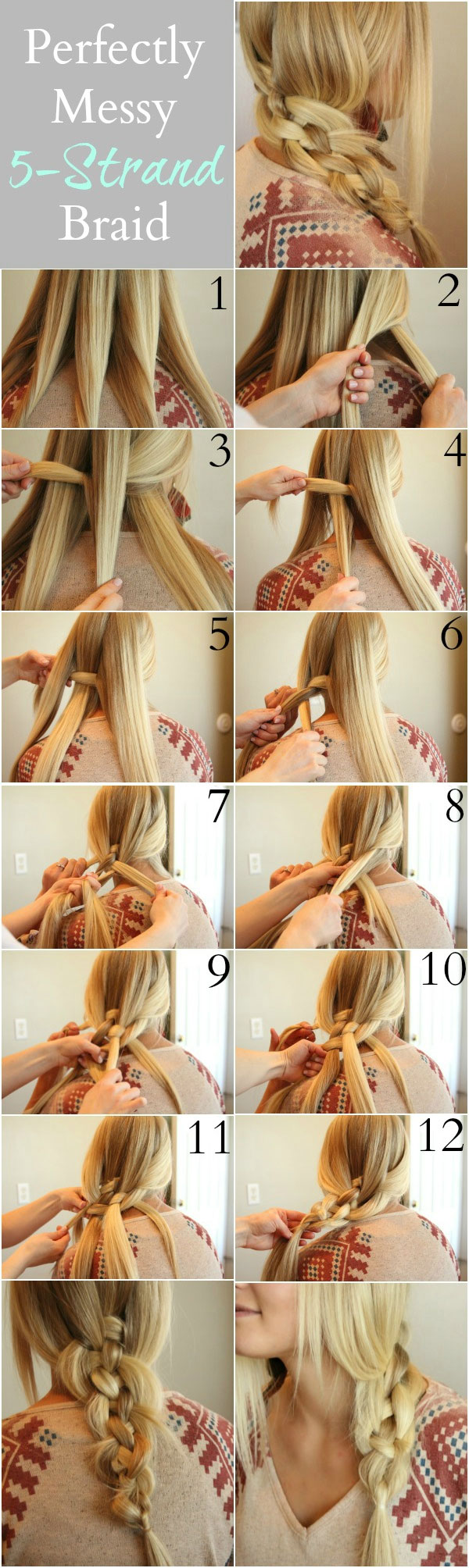 Easy Five Strand Braid Tutorial - Step By step