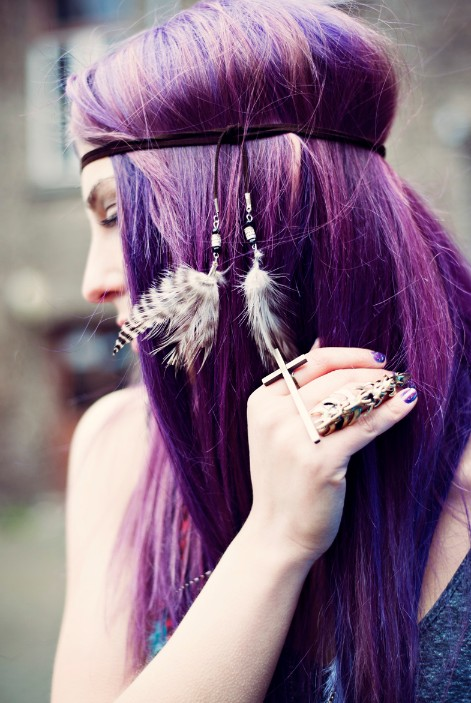Hairstyles Purple : Hairstyles: ?Purple Haze? Hippy Chic - Hairstyles Weekly