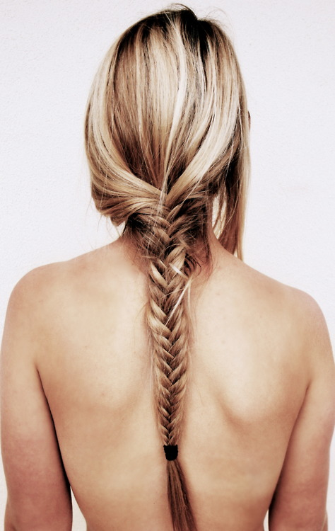 Back View of Fish Bone Braid for Long Hair Tumblr