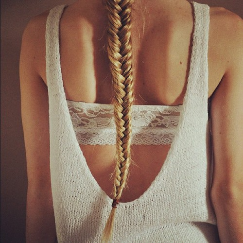 Backless Tops & Long Blonde Fishtail Braid