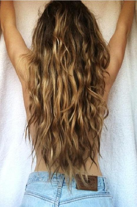 Beachy Waves Back View Ofy Long Wavy Beach Hair