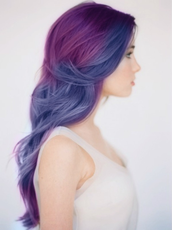 Blue Amp Purple Hair Long Waves In Soft Plum And Indigo