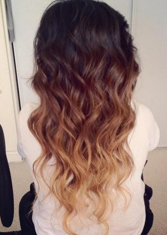 Brown Ombre Hair To Blonde Wavy Dip Dye Cascade